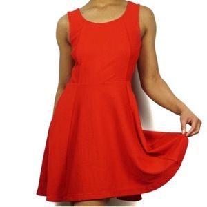 EXPRESS Red Ribbed Sleeveless Flare Skater Dress
